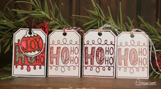 Set of Holiday Tags by Larissa Heskett | Joyful Tags stamp set & Tags Times Two Die Set by Newton's Nook Designs #newtonsnook