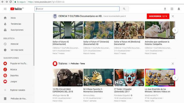 Ejemplo de canales de Youtube