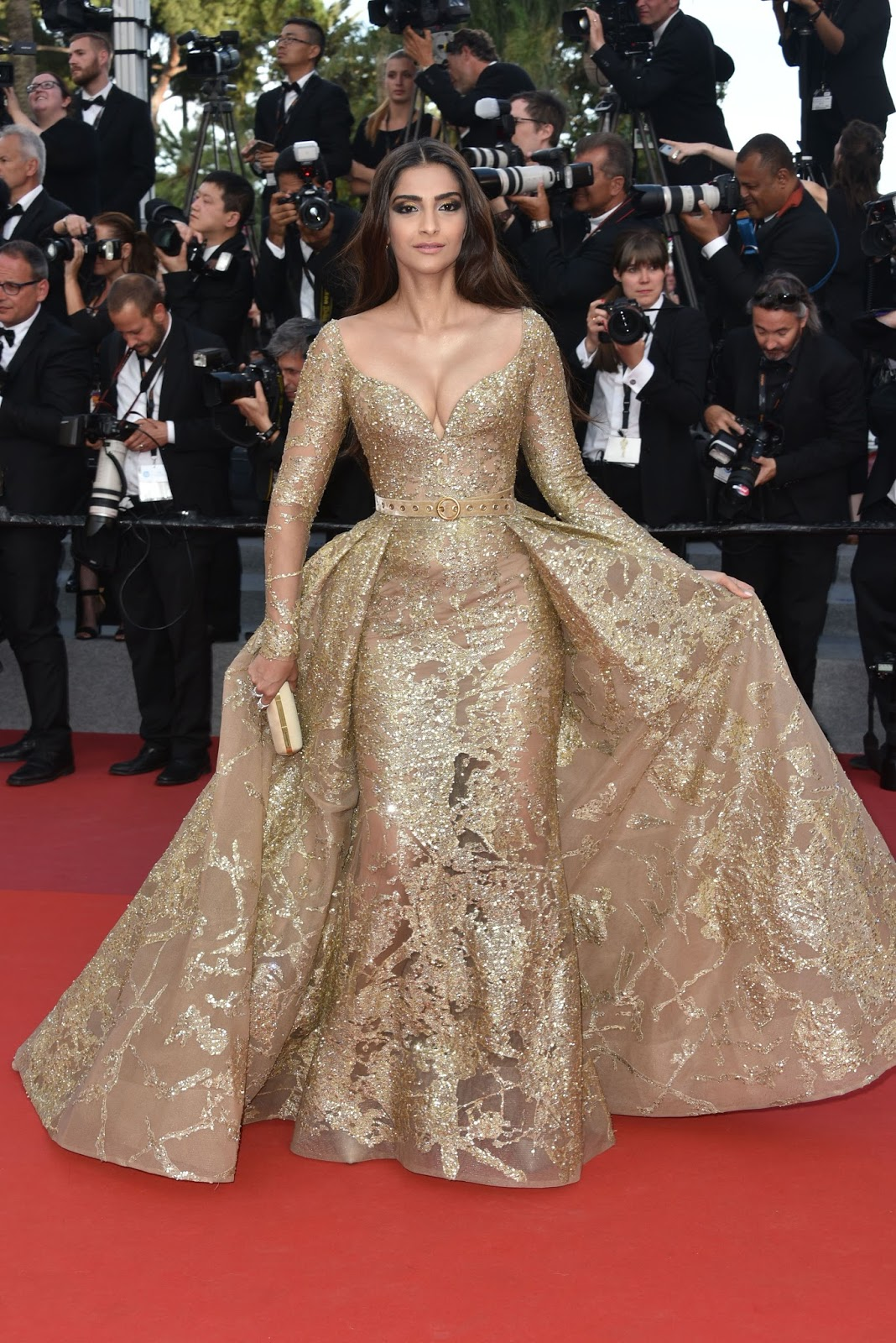 Sonam Kapoor in Golden Choli Style dress at a Movie Premiere at Cannes Film Festival 2017