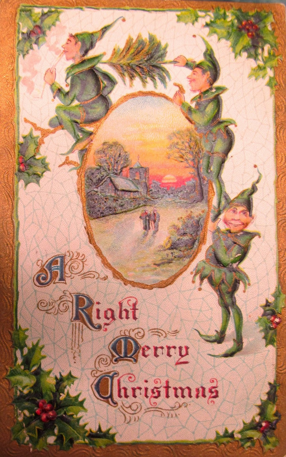 when a gardener collects vintage christmas postcards