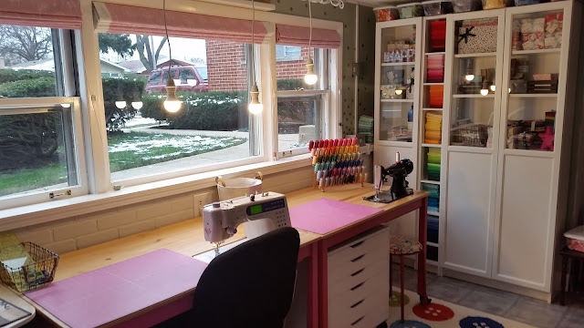 bright sewing quilting studio featuring IKEA - craft room ideas