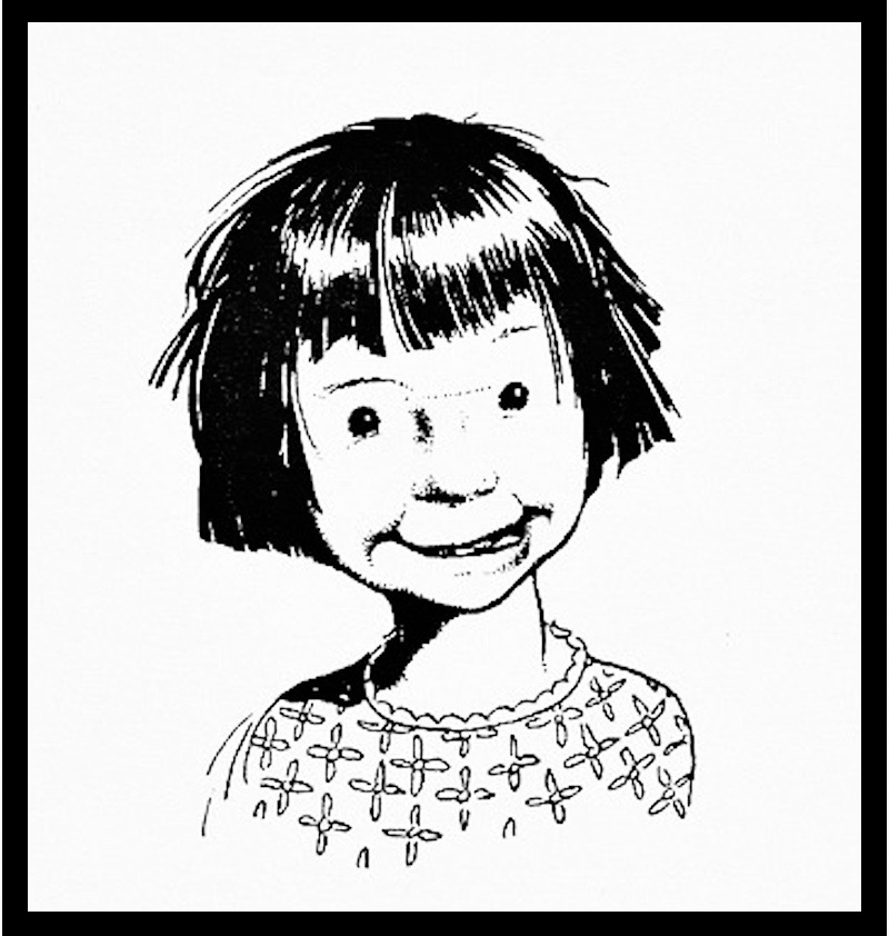 Illustrations of Beverly Cleary's books featuring sisters Ramona and Beezus by Louis Darling. Ramona with a loose tooth