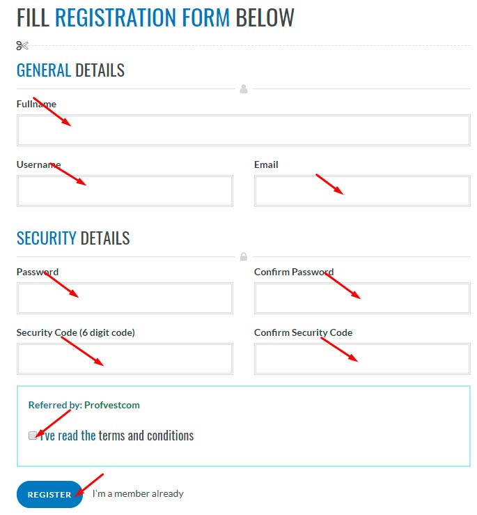 Регистрация в WinterIncome 1