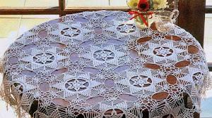 Mantel de encaje en ganchillo para mesa redonda / molde y patrón