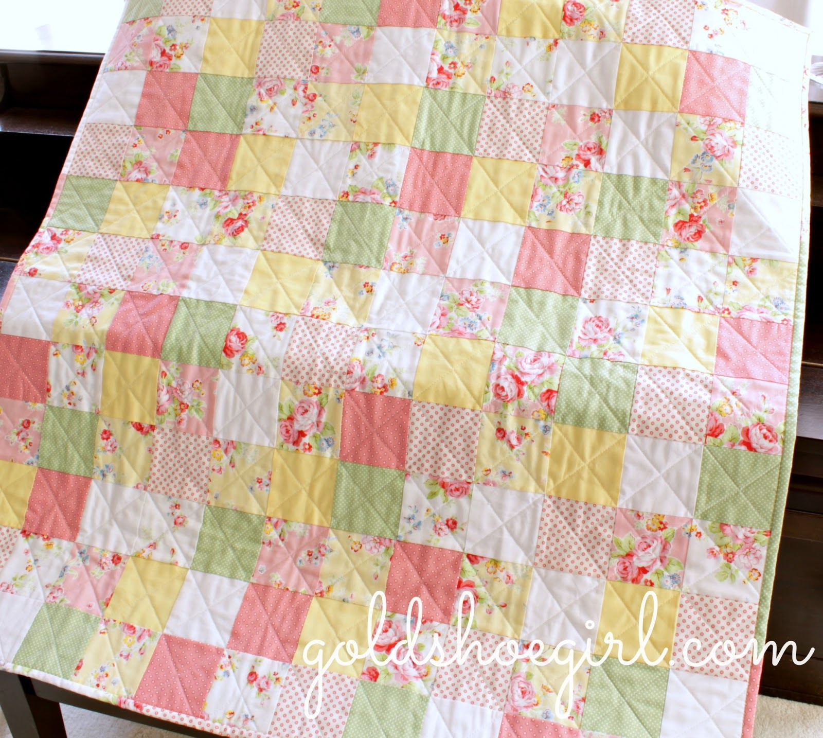 Patchwork Set Baby Gold Shoe Girl Patchwork Baby Girl Quilt