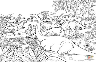 Dinosaur Land Coloring Pages