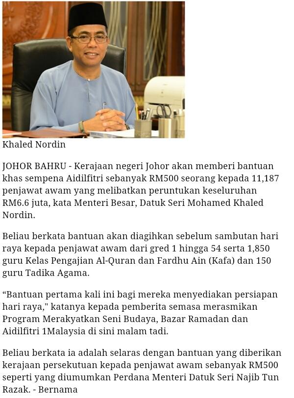 Bonus Raya RM500 Negeri Johor