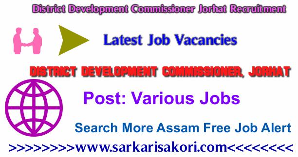 District Development Commissioner Jorhat Recruitment 2017 Various jobs