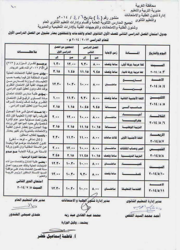 جدول امتحانات المرحلة الثانوية الترم الثانى 2014 محافظة الغربية 10168223_85292352805