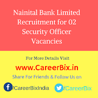 Nainital Bank Limited Recruitment for 02 Security Officer Vacancies