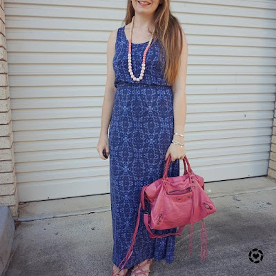 awayfromtheblue Instagram blue jersy jeanswest printed maxi dress with sorbet pink Balenciaga studded sandals and city bag