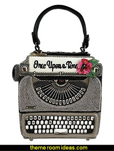 Just My Type Typewriter Beaded Top-Handle Handbag