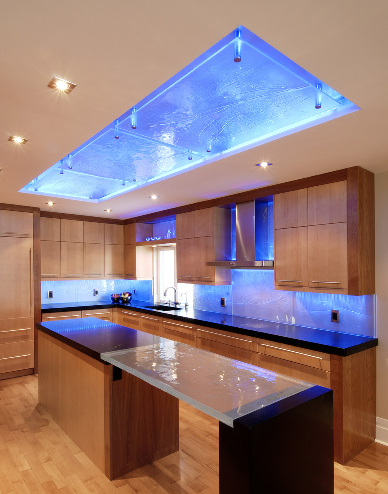 Blue Glass Countertops And Backsplash Backlit With Custom LED Adorable Backsplash Lighting Model