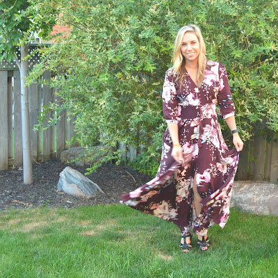 burgundy floral fall maxi dress
