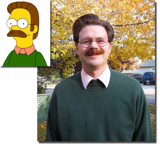 Personagens de desenhos como se fossem de carne e osso - Ned Flanders