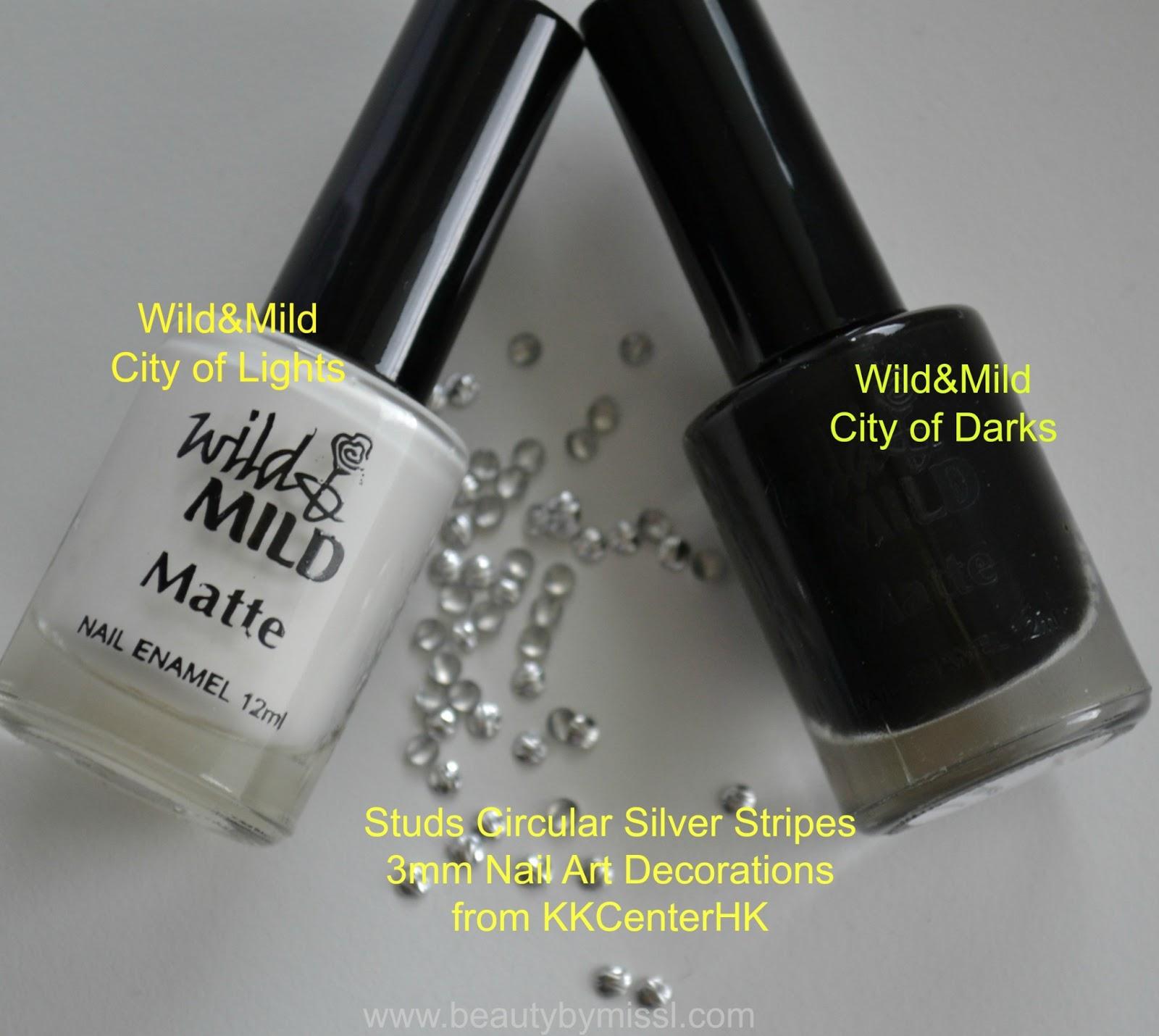 black white nail polish, nail studs