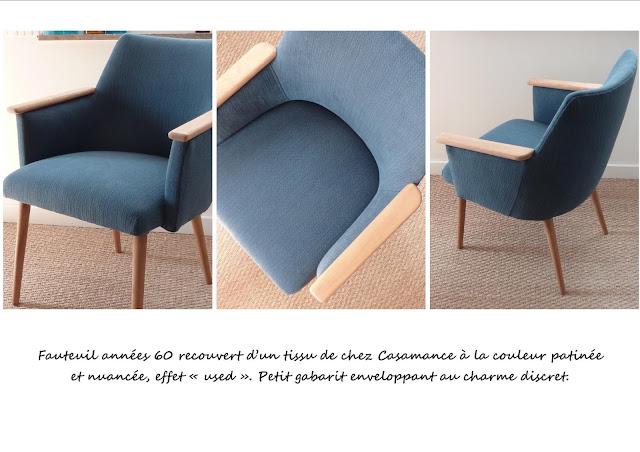 Fauteuil bleu bureau vintage
