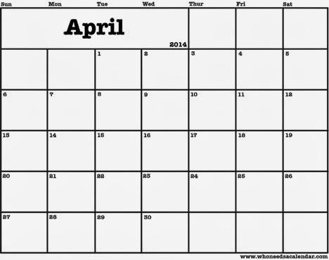 Blank April 2014 Calendar Printable , Printable Calendar 2014, Blank