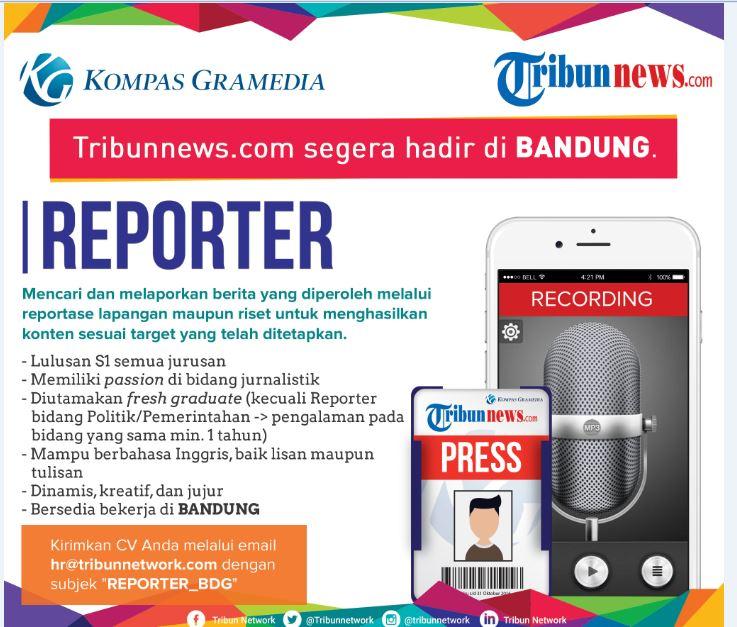 Lowongan Kerja TribunNews Reporter Pendidikan S1 Semua Jurusan