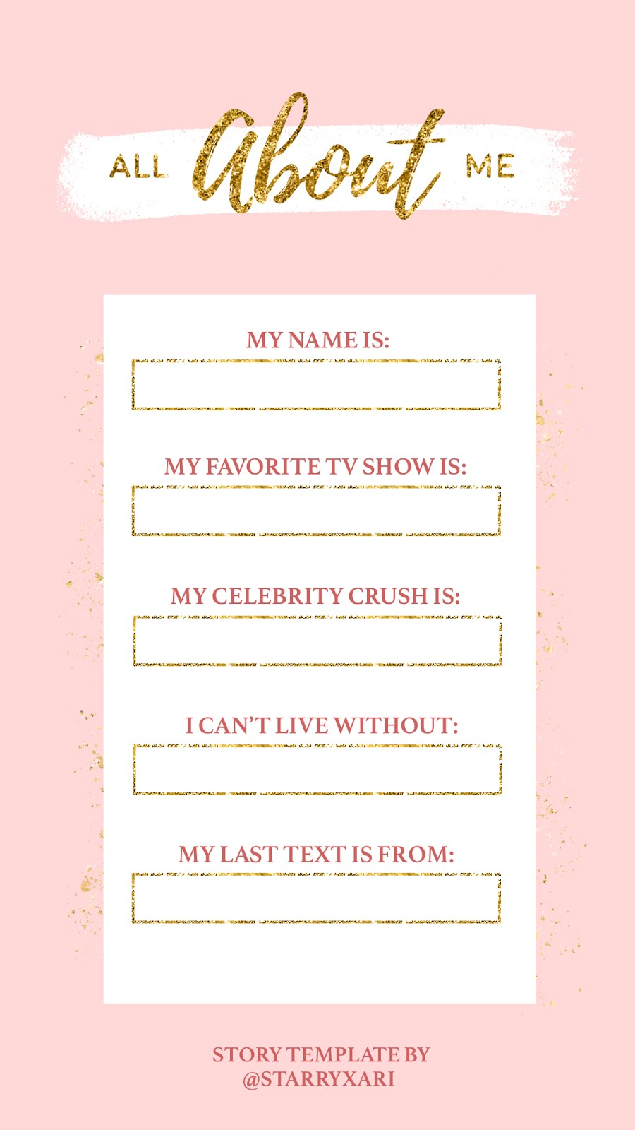 Free Pink And Gold Instagram Story Templates Starry Ari