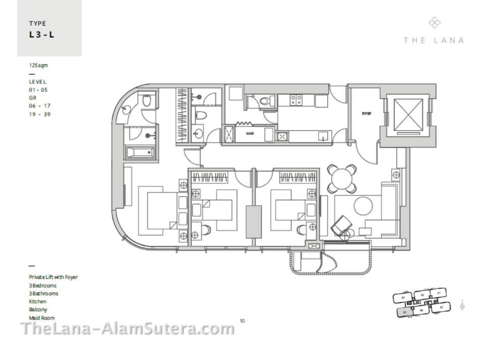 Type L3-L Apartemen The Lana Alam Sutera