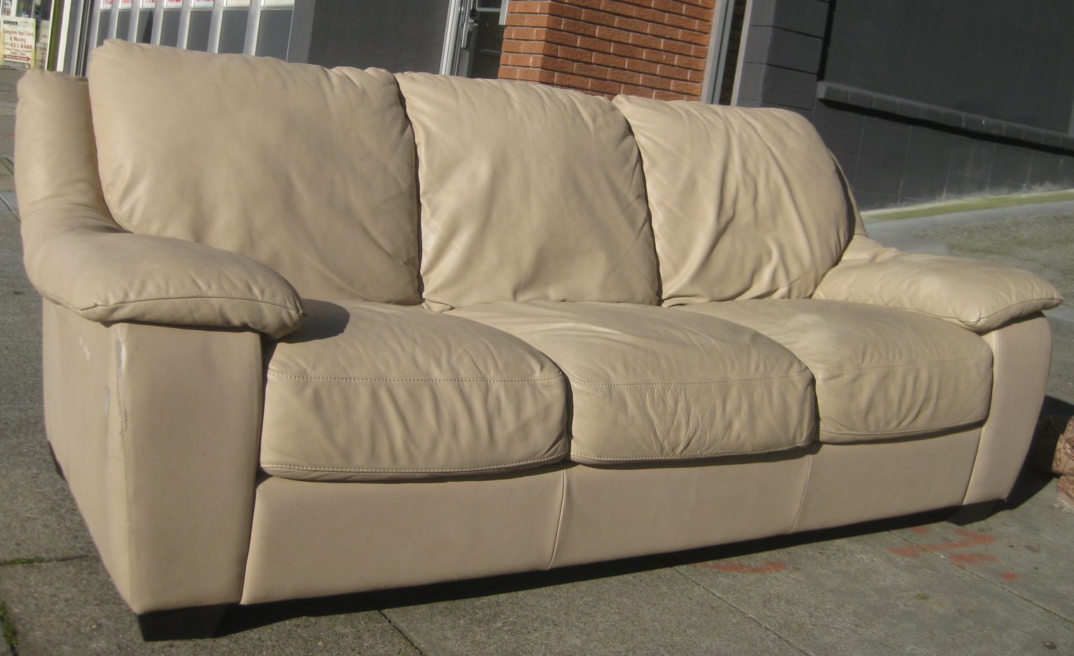 UHURU FURNITURE & COLLECTIBLES: SOLD - Off-White Leather ...