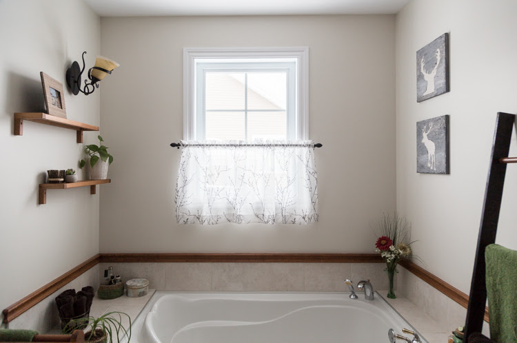 Bathroom makeover   small budget   DIY   Home Decor   Rope Mirror   Simple Update Trash Can   Crochet Baskets   Deer Art   Rustic ladder