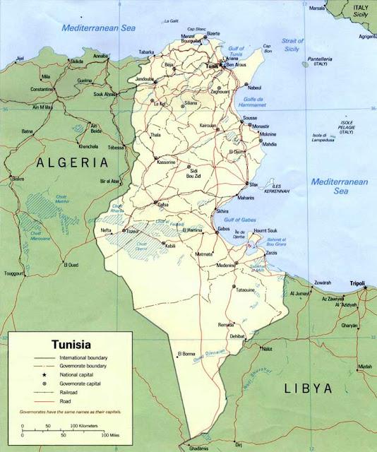 Gambar Peta politik Tunisia