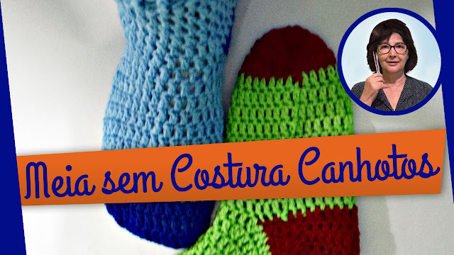 Edinir Croche ensina meia em crochê sem costura para canhota aprender croche