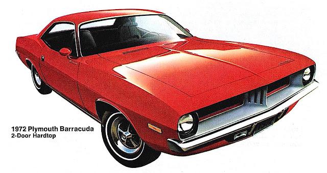 a red 1972 Plymouth Barracuda 2-Door Hardtop illustration