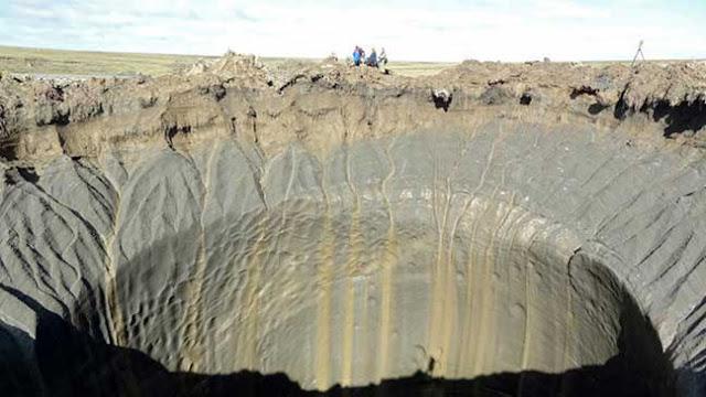 """بالصورتعرف على """"حفرة نهاية العالم"""" في سيبيريا تتسع وظواهر تدهش العلماء"""