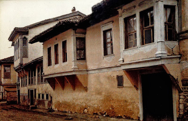 Street in Bitola with traditional buildings, Turkish and Christian. Bitola in 1913