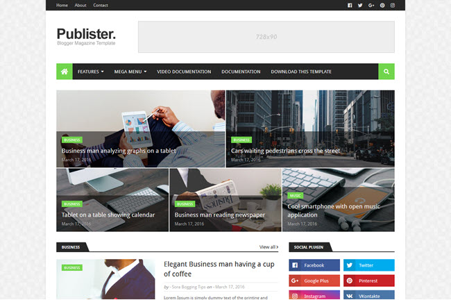 Publister - Responsive Magazine Blogger Template