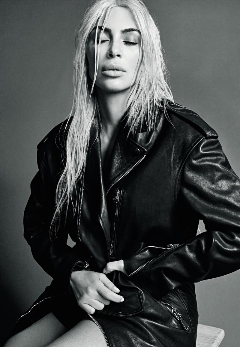 Kim Kardashian wears Tod's leather jacket