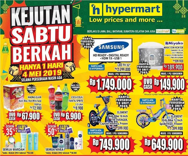 #Hypermart - #Promo 1 Hari Kejutan Sabtu Berkah ( 4 Mei 2019)