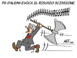 D'Alema, PD, minoranza pd, scissione, vignetta, satira