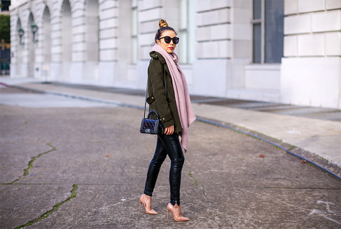 army green jacket, moto pants, chanel boy bag, rebecca minkoff scarf, christian louboutin so kate pumps, karen walker super duper sunglasses, winter outfit ideas, san francisco street style, san francisco fashion blog