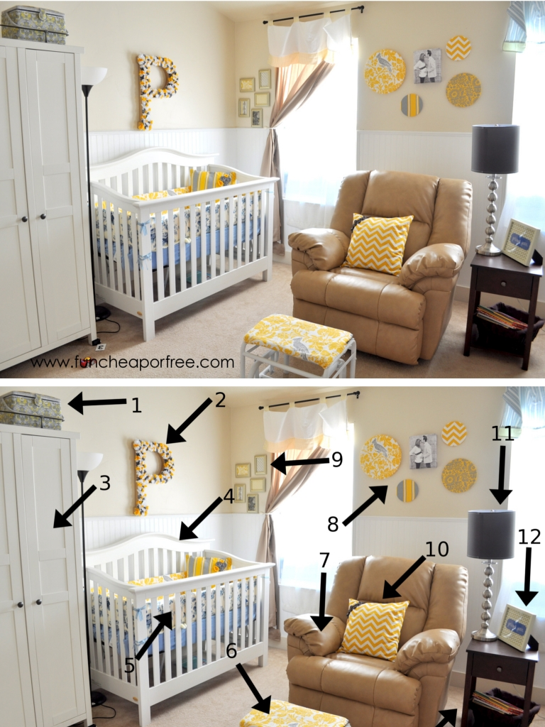 our yellow gray nursery fun cheap or free. Black Bedroom Furniture Sets. Home Design Ideas