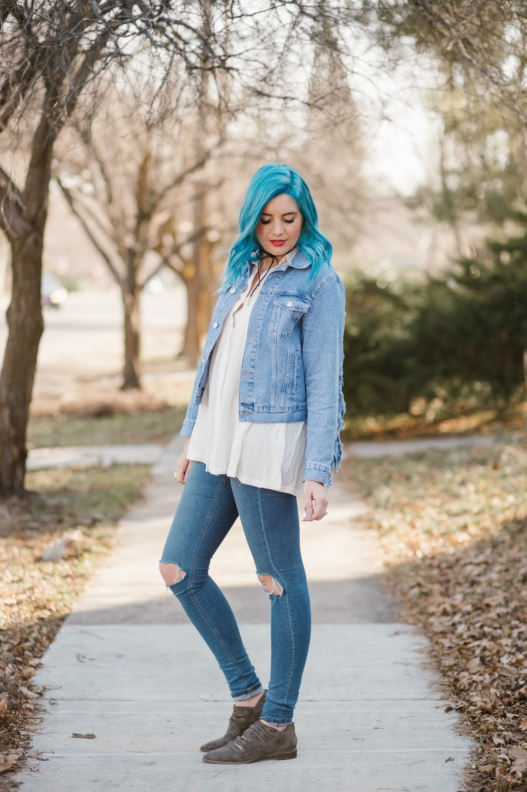 Blue Hair, Utah Fashion Blogger, Modest Outfit