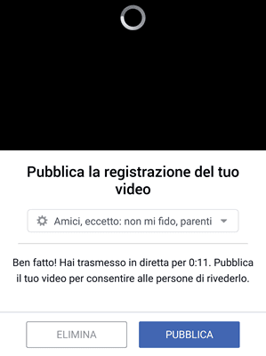 Pubblica video su facebook