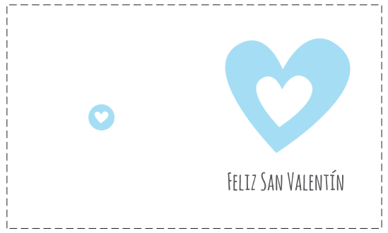 tarjeta San Valentín corazón azul horizontal