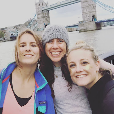 Emily, Sinead and I at tower bridge - home stretch for the walk