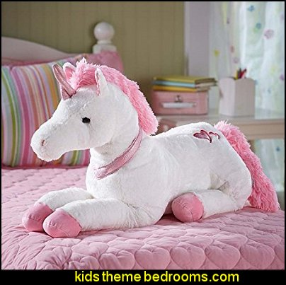 unicorn plush toys  unicorn bedding - unicorn decor - unicorn duvet - fantasy theme bedroom decorating ideas - fairytale bedrooms decor - pegasus decor - unicorn wall murals - unicorn wall decals