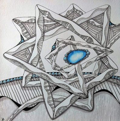 zentangle duotangle of auraknot and meer with turquoise blue gem