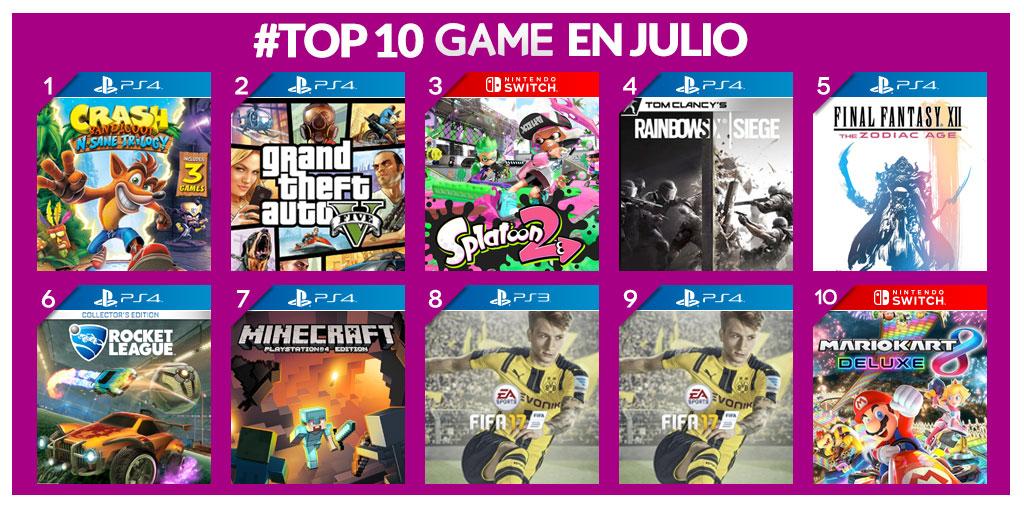 GAME comparte los videojuegos más vendidos de julio