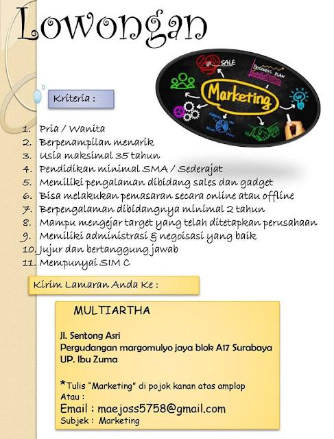 lowongan kerja Marketing Multiartha
