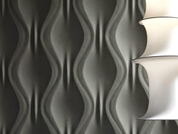 Interior design with wavy 3D decorative wall panels 2017