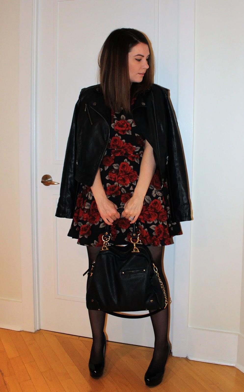 Floral Dress, Leather Jacket, Bucket Bag, Pumps
