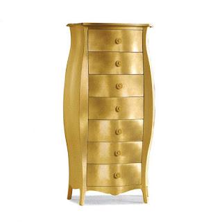Arredo e design cassettiera bombata color oro for Mobili design riproduzioni