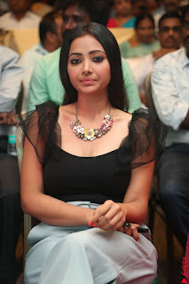 Swetha Basu in a Black Sleeveless Top Long Skirt at Mixture Potlam Movie Audio Launch 015.JPG